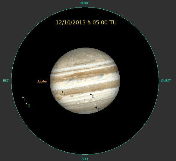 Evénement rare : un triple passage d'ombres (Io, Europe et Callisto) le 12/10/2013 à 05:00 TU