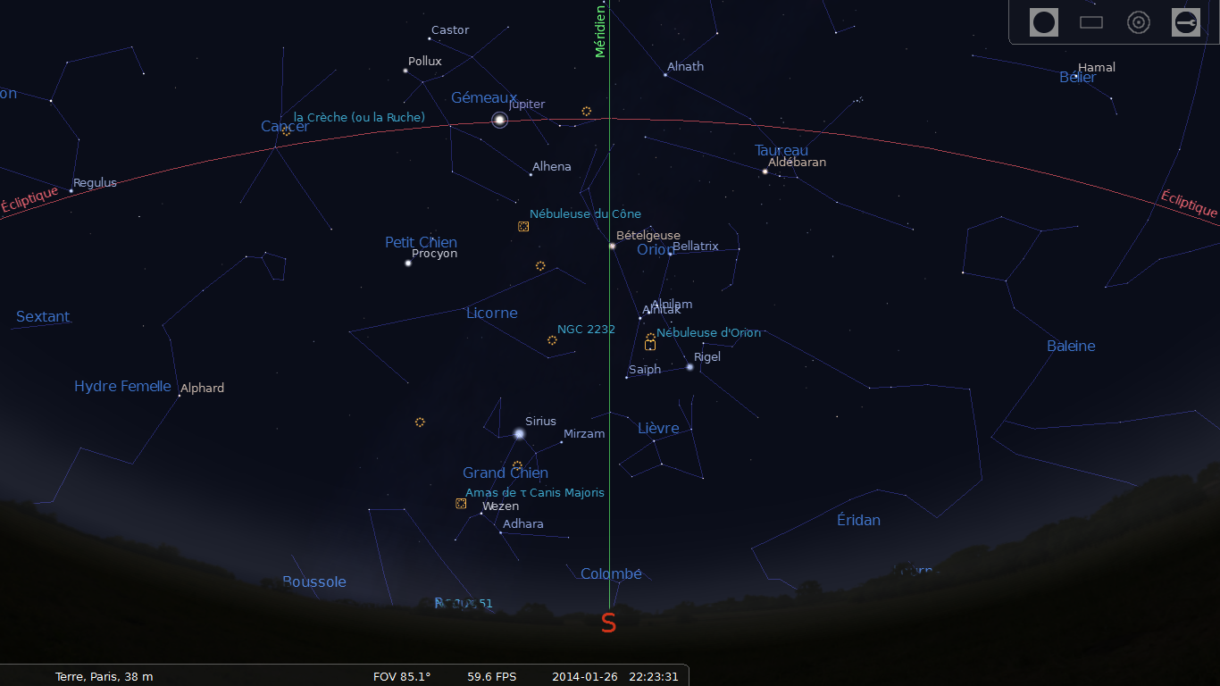 Stellarium : position de Jupiter depuis Paris le 26/01/2014 à 22:23 HL