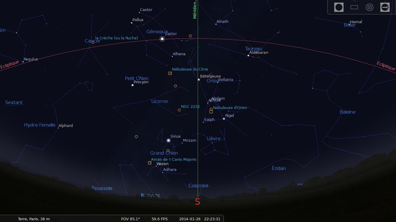 Stellarium : position de Jupiter depuis Paris le 26/01/2014 à 22:23 HL