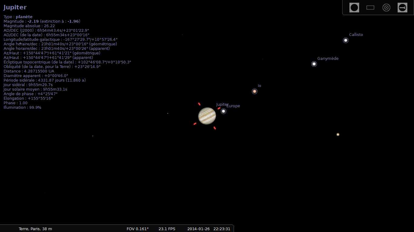 Stellarium : position des satellites galiléens le 26/01/2014 à 22:23 HL