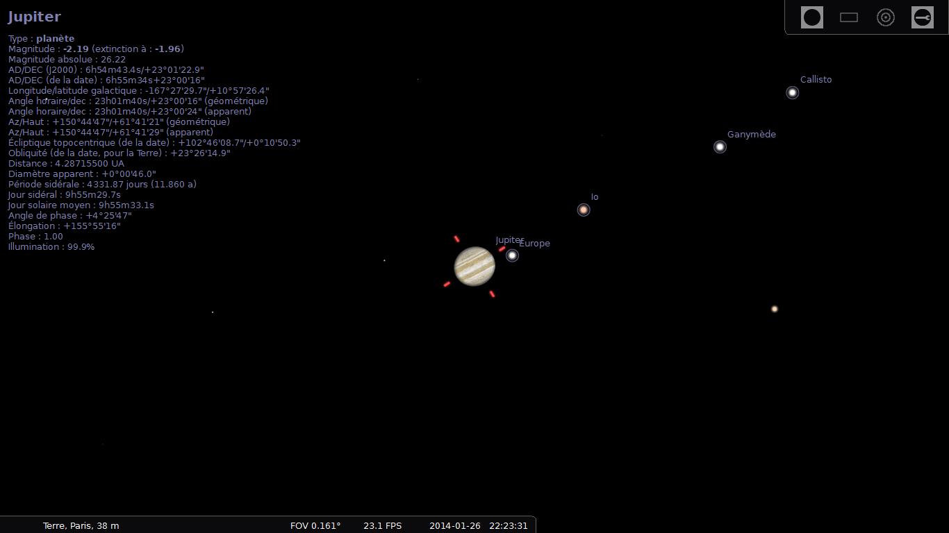 Stellarium : position des satellites galiléens le 26/01/2014 à 22:23 HL