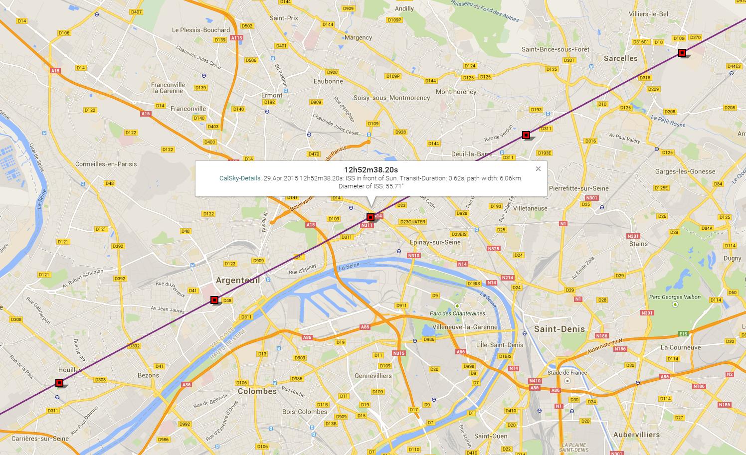 Carte du site CalSky annonçant le transit de l'ISS